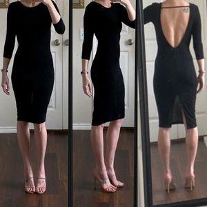 Black open back backless midi bodycon dress